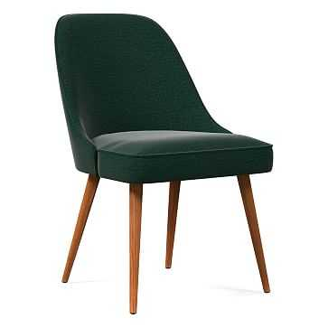 Mid-Century Upholstered Dining Chair, Distressed Velvet, Forest, Pecan - West Elm