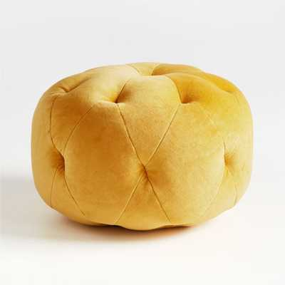 Velvet Gold Pouf - Crate and Barrel