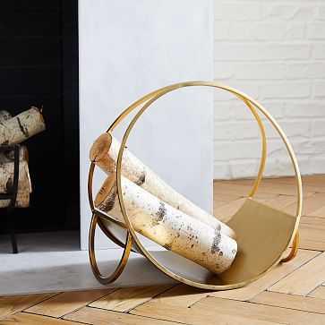 Cut Out Firewood Holder, Antique Brass - West Elm