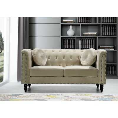 "Cookson Velvet Chesterfield 64.17"" Roll Arms Loveseat - Wayfair"