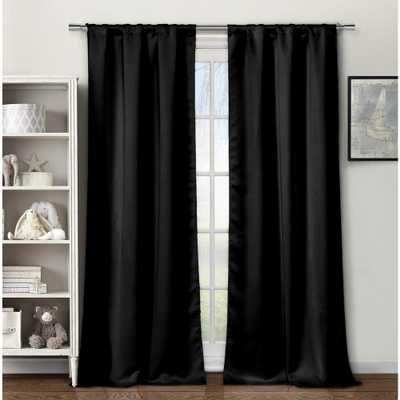 BLACKOUT 365 Solid Black Polyester Blackout Grommet Window Curtain 60 in. W x 84 in. L (2-Pack) - Home Depot