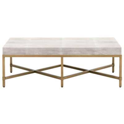 Izabella Modern Classic White Faux Shagreen Resin Gold Metal Coffee Table - Kathy Kuo Home