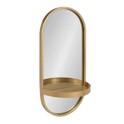 """11""""x24"""" Estero Metal Wall Mirror with Shelf Gold - Kate and Laurel - Target"""