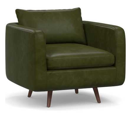 Harley Leather Armchair, Down Blend Wrapped Cushions, Legacy Forest Green - Pottery Barn