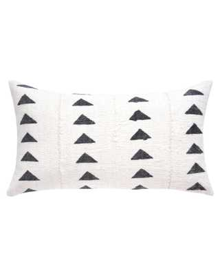 triangle mud cloth lumbar pillow in white - cover only - PillowPia