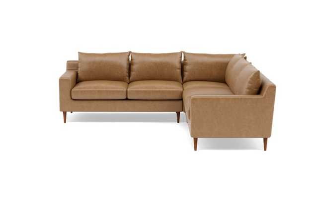 Sloan Leather Corner Sectional with Brown Palomino Leather, double down cushions, and Oiled Walnut legs - Interior Define