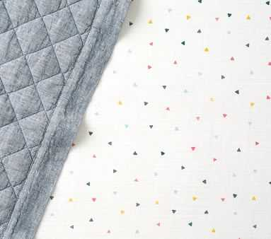 Muslin Multi Triangles Fitted Crib Sheet, Multi - Pottery Barn Kids