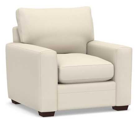 Pearce Modern Square Arm Upholstered Armchair, Down Blend Wrapped Cushions, Performance Brushed Basketweave Ivory - Pottery Barn