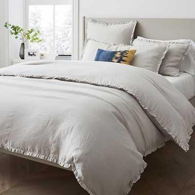 European Linen Ruffle Duvet, Twin Duvet Cover, Frost Gray - West Elm