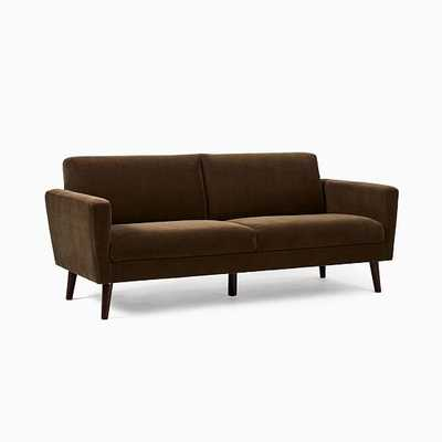 Oliver 2 Seater Sofa,Dark Olive,Modern Chenille,Light Walnut - West Elm