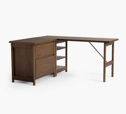 Bloomquist Wood L-Shape Desk with Lateral File Cabinet, Warm Dusk - Pottery Barn