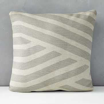 """Outdoor Braided Lines Pillow, 24""""x24"""", Frost Gray - West Elm"""