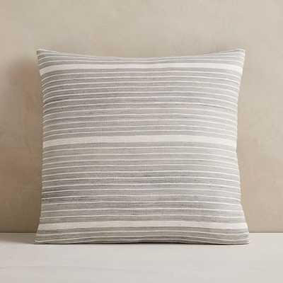 "Silk Mini Stripe Pillow Cover, 20""x20"", Pearl Gray - West Elm"