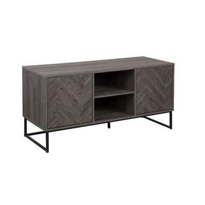 Nathan James Dylan 47 in. W Gray Wood Media Console TV Stand with Herringbone Storage Doors Fits 55 in. TV with Cable Management, Gray/Black - Home Depot