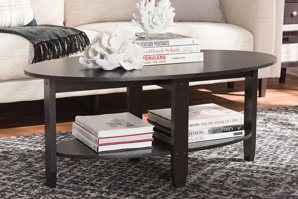 Baxton Studio Ancelina Modern and Contemporary Wenge Brown Finished Coffee Table - Lark Interiors