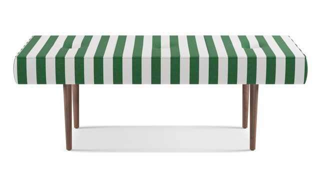 Mid-Century Bench | Emerald Cabana Stripe - The Inside