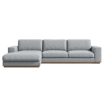 Rove Concepts Noah Modern Classic Porpoise Grey Upholstered Sectional Sofa - Left Arm Facing - Kathy Kuo Home