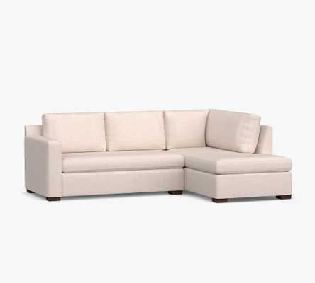 Shasta Square Arm Upholstered Left Sofa Return Bumper Sectional, Polyester Wrapped Cushions, Performance Heathered Tweed Pebble - Pottery Barn