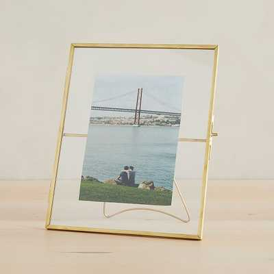 "Terrace Frames With Kickstand, Antique Brass, Holds 5""x7"" & 8""x10"" - West Elm"