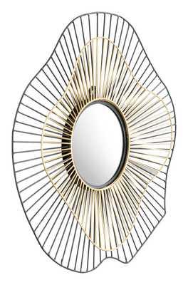 Comet Round Mirror Black & Gold - Zuri Studios