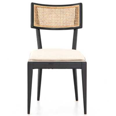 Tina Modern White Performance Upholstered Seat Black Cane Dining Chair - Kathy Kuo Home