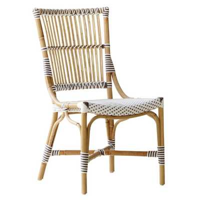 Ben Coastal Beach White and Light Brown Woven Rattan Outdoor Side Chair - Kathy Kuo Home