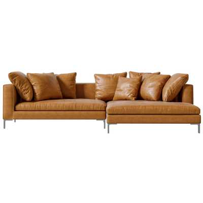 Rove Concepts Hugo Modern Classic Palermo Caramel Brown Leather Sectional Sofa - Right Hand Facing - Kathy Kuo Home