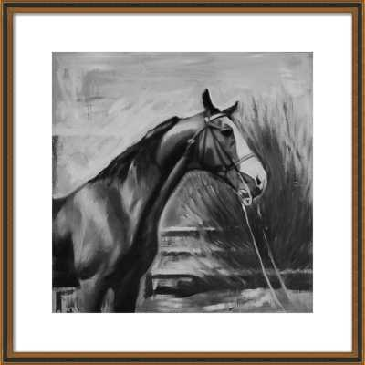 horse with fence (black and white) by Mary Sinner for Artfully Walls - Artfully Walls
