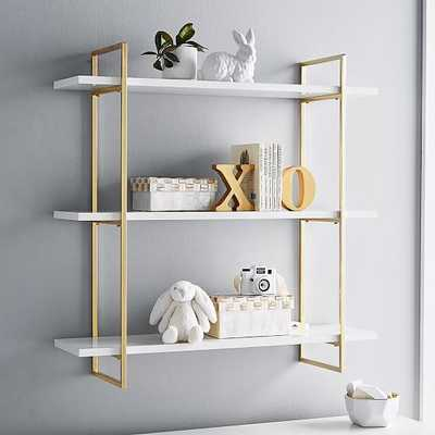 Polished Shelf, 3 Tier, White and Gold - West Elm