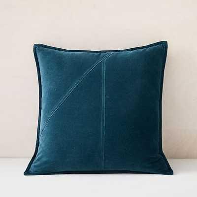 "Washed Cotton Velvet Pillow Cover, 18""x18"", Teal Blue - West Elm"