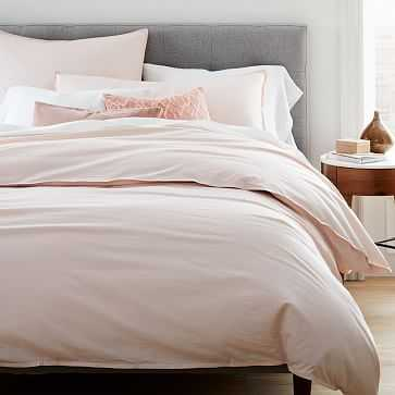 Organic Washed Cotton Duvet, Queen, Pink Champagne - West Elm