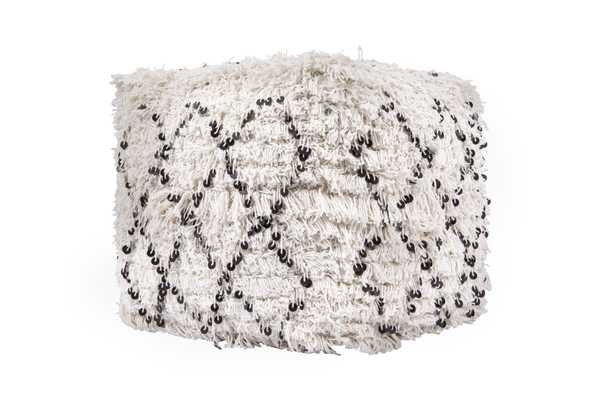 White Moroccan Wedding Quilt Pouf with Fringe & Sequins - Nomad Home
