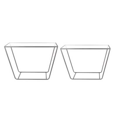 Litton Lane Modern Rectangular Prism Glass Console Tables (Set of 2), Black - Home Depot