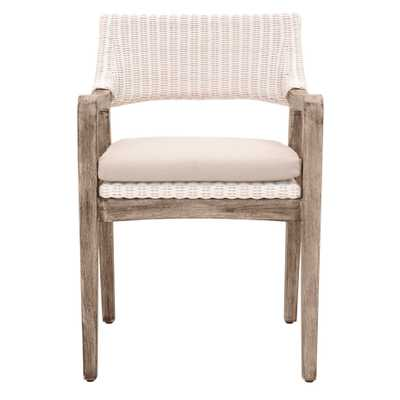 Lucile Modern Classic Woven Wicker Grey Mahogany Frame Dining Arm Chair - Kathy Kuo Home