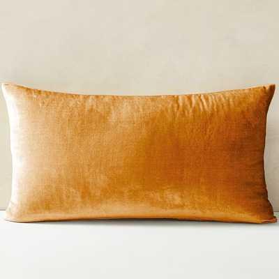 """Lush Velvet Pillow Cover, Golden Oak, 14""""x26"""" - West Elm"""