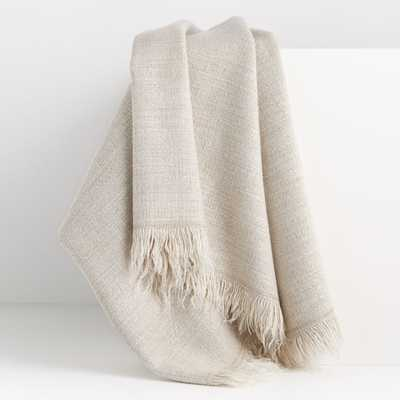 Plain Weave Sand Fringe 55x70 Throw - Crate and Barrel