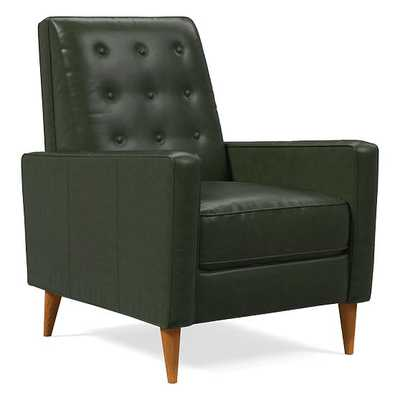 Rhys Midcentury Recliner, Halo Leather, Banker, Pecan - West Elm