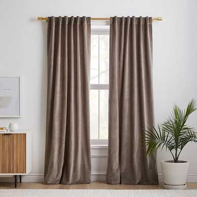 """Cotton Velvet Curtain, Mocha , 48""""x84"""", Set of 2 - West Elm"""