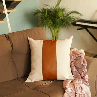 Alvord Square Faux Leather Pillow Cover - Wayfair