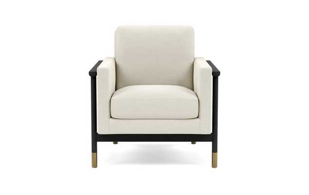 Jason Wu Petite Chair with White Chalk Fabric and Matte Black with Brass Cap legs - Interior Define