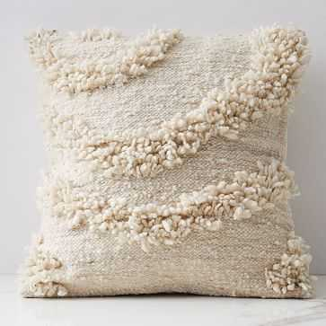 Wool Pillow Cover, Tierra 1, White - West Elm