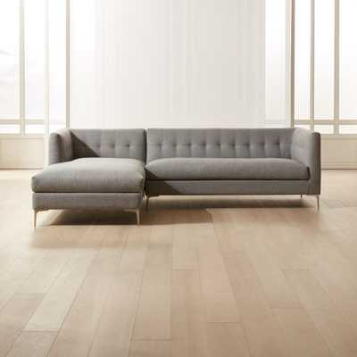 Holden 2-Piece Grey Tufted Sectional Loveseat - CB2