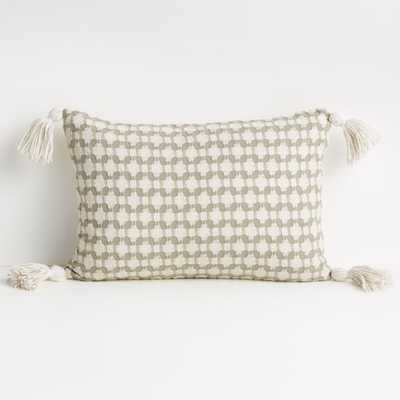 """Tahona 18""""x12"""" White Swan Textured Pillow Cover - Crate and Barrel"""