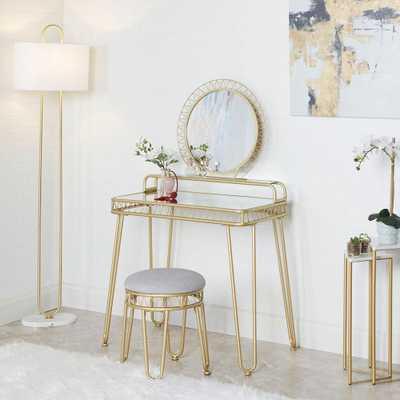 Silverwood Furniture Reimagined Brigitte 33.7 in. 3-Piece Gold Vanity Set with Mirror - Home Depot