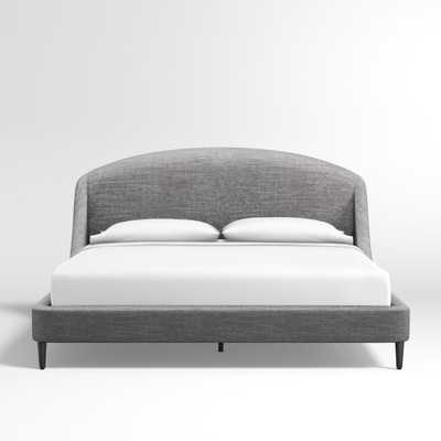 Lafayette Charcoal Upholstered King Bed without Footboard - Crate and Barrel