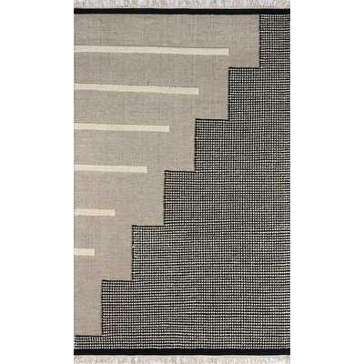 Handmade Flatweave Wool Light Black/Beige Area Rug - Wayfair