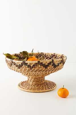 Woven Rattan Pedestal Bowl By Anthropologie in Beige - Anthropologie