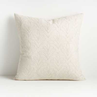 "Mari White Textured Pillow 20"" with Feather-Down Insert - Crate and Barrel"