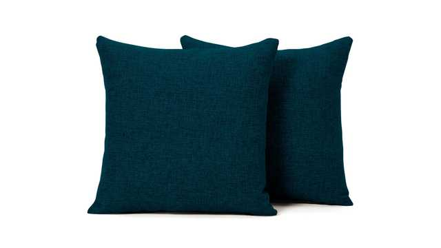 Blue Decorative Mid Century Modern Knife Edge Pillows 18 x 18 (Set of 2) - Key Largo Zenith Teal - Joybird