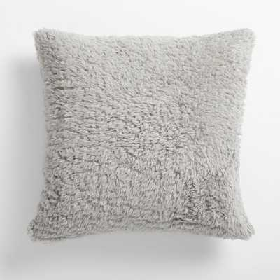 Cozy Recycled Sherpa Pillow, 18x18, Light Grey - cover+pillow - Pottery Barn Teen